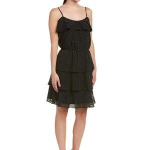 Parker black metallic ruffle dress